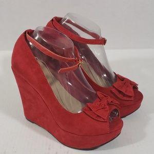 Torrid Red Bow Platform Wedge Open Toe Shoes sz 8
